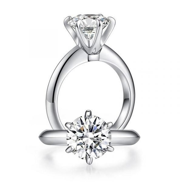 2.5 Carat Moissanite Diamond (9 mm) Luxury Ring 6 Claws Engagement 925 Sterling Silver 1