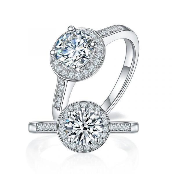 1 Carat Moissanite Diamond Ring Halo Engagement 925 Sterling Silver 1