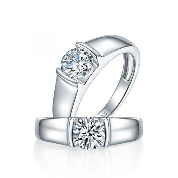 Men's Ring Moissanite Diamond 1 Carat Engagement 925 Sterling Silver 1