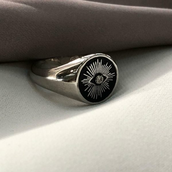 Stunning Sterling Silver Unisex The eye signet ring with enamel painted Men Pinky CZ Ring 1