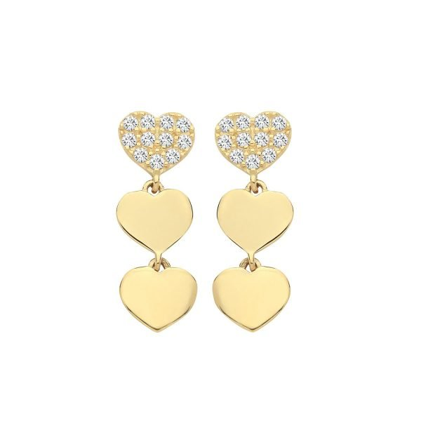 Genuine 9 CT Yellow Gold CZ Triple Heart Drop Earrings 1