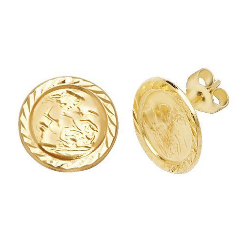 Genuine 9 CT Yellow Gold ST Christopher Stud Earrings 1