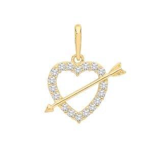 CZ Heart Arrow Charm
