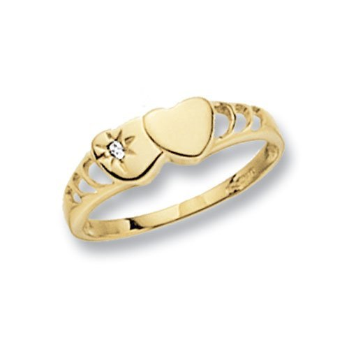 Genuine 9ct Yellow Gold Maidens Double Heart Signet CZ Ring 1