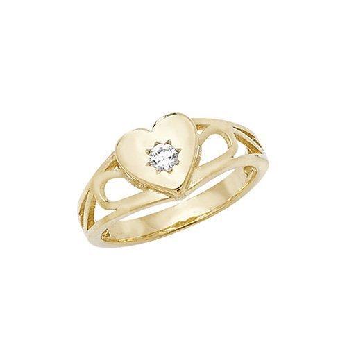 Signet Heart CZ Ring