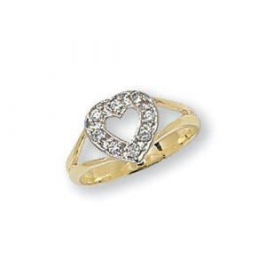 Cut Out Heart CZ Ring